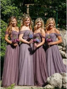 A-Line Off-the-Shoulder Long Bridesmaid Dresses 99601299