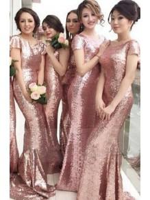 Mermaid Sequins Long Bridesmaid Dresses 99601303
