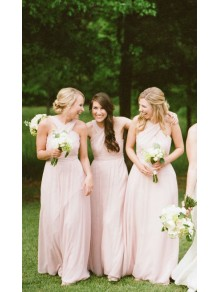A-Line Long Pink Bridesmaid Dresses 99601304