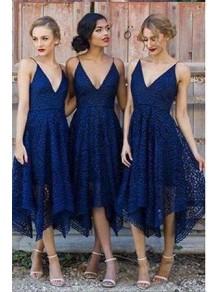 A-Line Spaghetti Straps V-Neck Bridesmaid Dresses 99601311