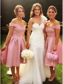 A-Line Short Off-the-Shoulder Bridesmaid Dresses 99601314