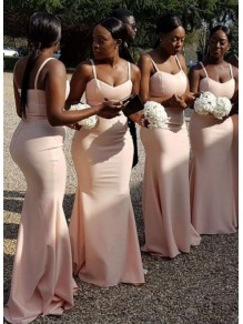 Mermaid Simple Spaghetti Straps Long Bridesmaid Dresses 99601316