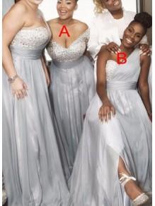 A-Line Beaded One-Shoulder Plus Size Long Bridesmaid Dresses 99601334