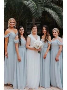 A-Line Chiffon Off-the-Shoulder Long Bridesmaid Dresses 99601335