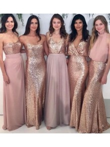 Affordable Sequins Long Bridesmaid Dresses 99601337