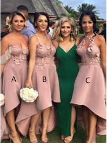 High Low Lace Bridesmaid Dresses 99601341