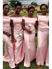 Mermaid Long Pink Off-the-Shoulder Bridesmaid Dresses 99601342
