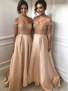 A-Line Beaded Off-the-Shoulder Long Bridesmaid Dresses 99601347