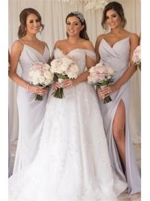 Sheath Spaghetti Straps Long Bridesmaid Dresses with Slit 99601355