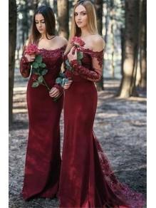Mermaid Long Sleeves Lace Long Bridesmaid Dresses 99601356