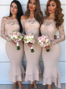 Long Sleeves Lace Bridesmaid Dresses 99601357