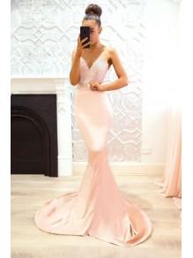 Mermaid Lace V-Neck Long Bridesmaid Dresses 99601358