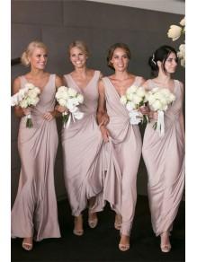 Sheath/Column V-Neck Long Bridesmaid Dresses 99601362