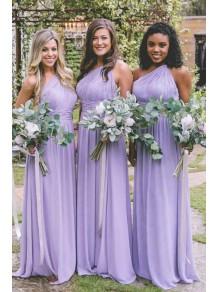 A-Line One-Shoulder Long Bridesmaid Dresses 99601367