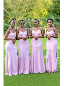 Mermaid Spaghetti Straps Long Pink Bridesmaid Dresses 99601368