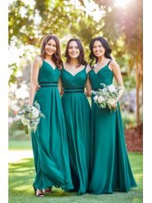 A-Line V-Neck Long Bridesmaid Dresses 99601376