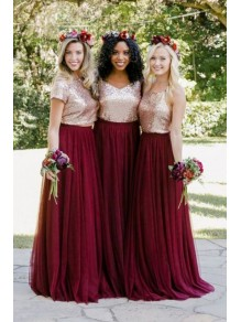 A-Line Sequins and Tulle Long Bridesmaid Dresses 99601378