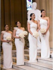 Sheath One-Shoulder Long Bridesmaid Dresses 99601381