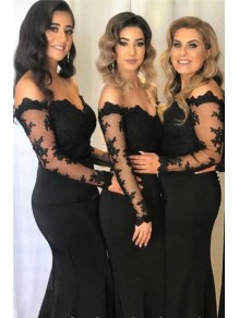 Mermaid Lace Long Sleeves Long Black Bridesmaid Dresses 99601382