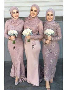 Long Sleeves Lace Bridesmaid Dresses 99601383