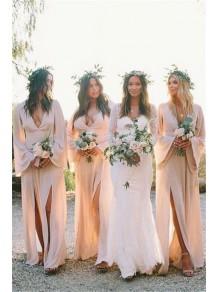 Sheath V-Neck Long Sleeves Chiffon Long Bridesmaid Dresses 99601384