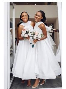 A-Line White Lace Bridesmaid Dresses 99601386