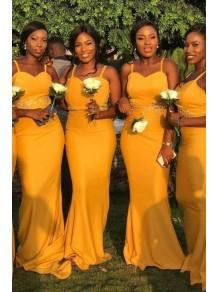Mermaid Spaghetti Straps Long Bridesmaid Dresses 99601387