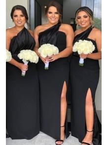 Sheath One-Shoulder Long Black Bridesmaid Dresses 99601390