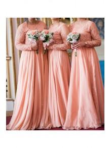 A-Line Long Sleeves Lace and Chiffon Long Bridesmaid Dresses 99601394