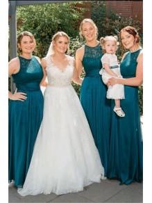 A-Line Lace Long Bridesmaid Dresses 99601395
