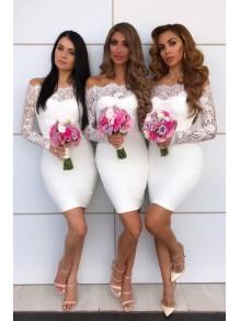 Short Lace White Bridesmaid Dresses 99601403