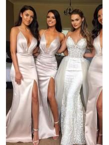 Memraid V-Neck Long Bridesmaid Dresses with Slit 99601407
