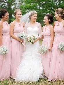 A-Line Long Pink Floor Length Bridesmaid Dresses 99601409