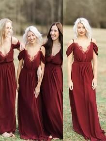 A-Line V-Neck Spaghetti Straps Floor Length Bridesmaid Dresses 99601410