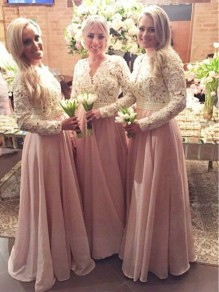 A-Line Beaded Long Pink Lace Floor Length Bridesmaid Dresses 99601412