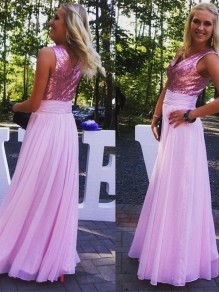 A-Line Sequins and Chiffon Long Pink Floor Length Bridesmaid Dresses 99601415