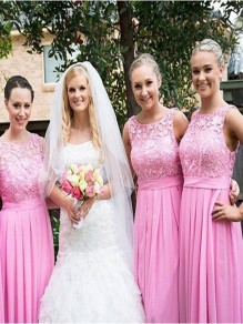 A-Line Lace and Chiffon Long Pink Floor Length Bridesmaid Dresses 99601416