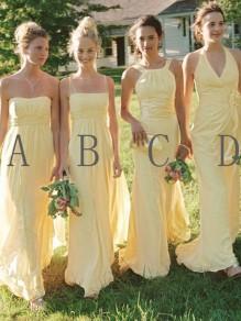 Long Yellow Chiffon Floor Length Bridesmaid Dresses 99601418