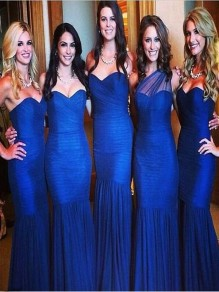 Mermaid Long Royal Blue Floor Length Bridesmaid Dresses 99601419