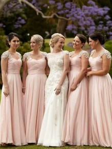 A-Line Lace and Chiffon Floor Length Bridesmaid Dresses 99601420