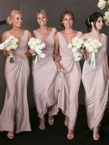 Sheath V-Neck Long Floor Length Bridesmaid Dresses 99601424