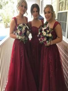 A-Line Lace Long Floor Length Bridesmaid Dresses 99601426