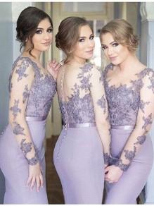 Mermaid Long Sleeves Lace Floor Length Bridesmaid Dresses 99601430