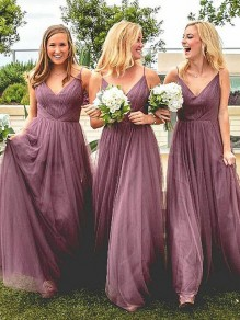 A-Line V-Neck Floor Length Bridesmaid Dresses 99601433