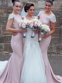 Mermaid Cap Sleeves Long Floor Length Bridesmaid Dresses 99601435