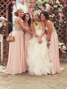 A-Line Chiffon Beaded Floor Length Bridesmaid Dresses 99601436