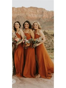 A-Line Spaghetti Straps Floor Length Bridesmaid Dresses 99601447