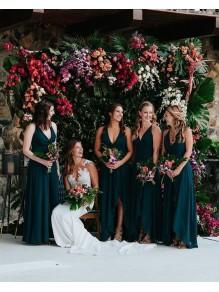 A-Line V-Neck Floor Length Bridesmaid Dresses 99601448