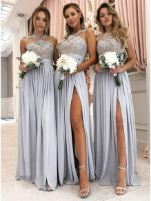 A-Line Lace and Chiffon Floor Length Bridesmaid Dresses 99601450