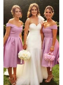 A-Line Off-the-Shoulder Knee Length Bridesmaid Dresses 99601459